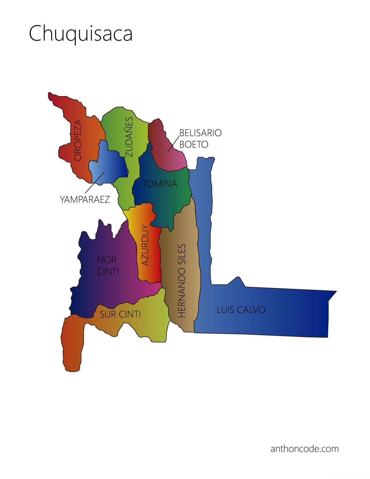 mapa de Chuquisaca y provincias