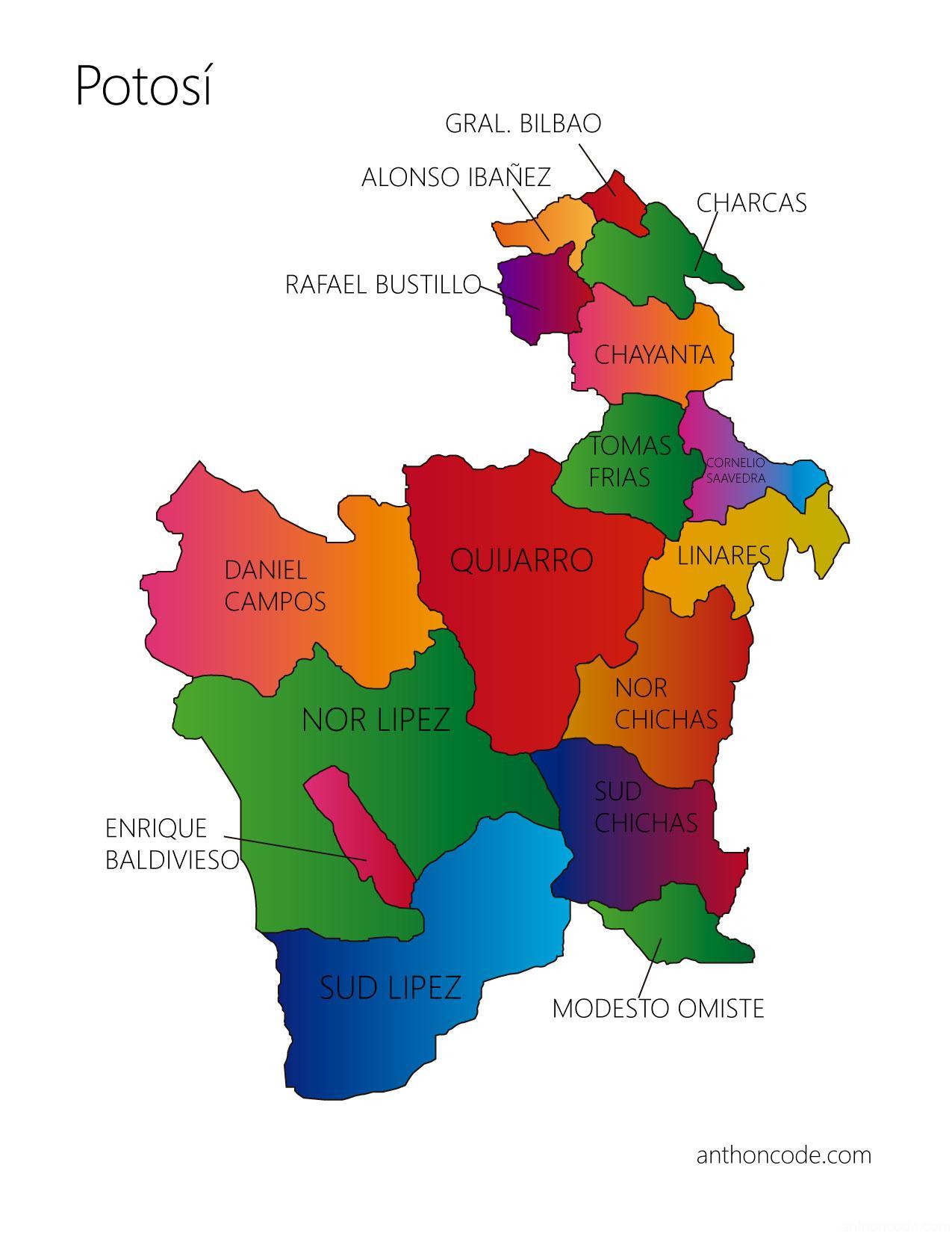 Mapa de Potosí y provincias