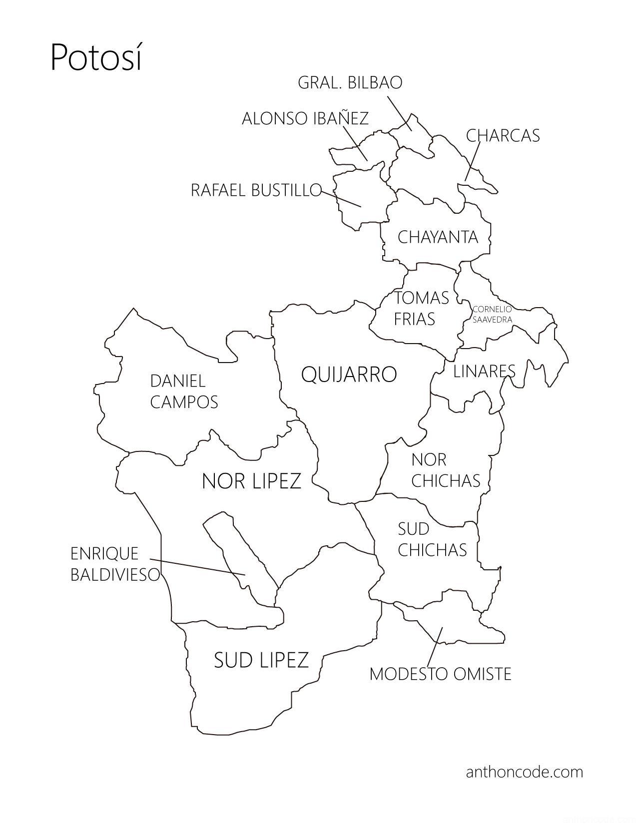 mapa de Potosí para colorear