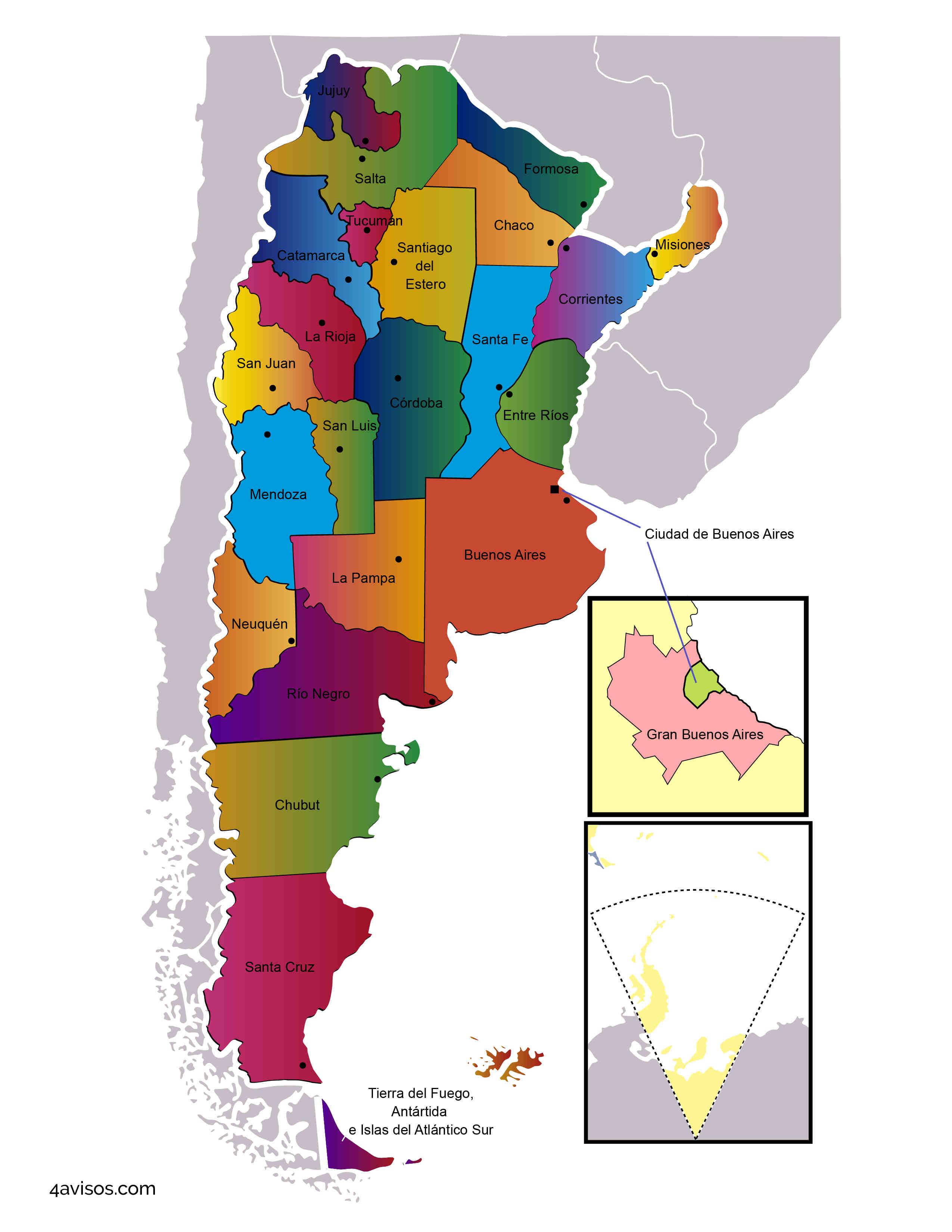 Mapa político de la Argentina para colorear e imprimir + PDF