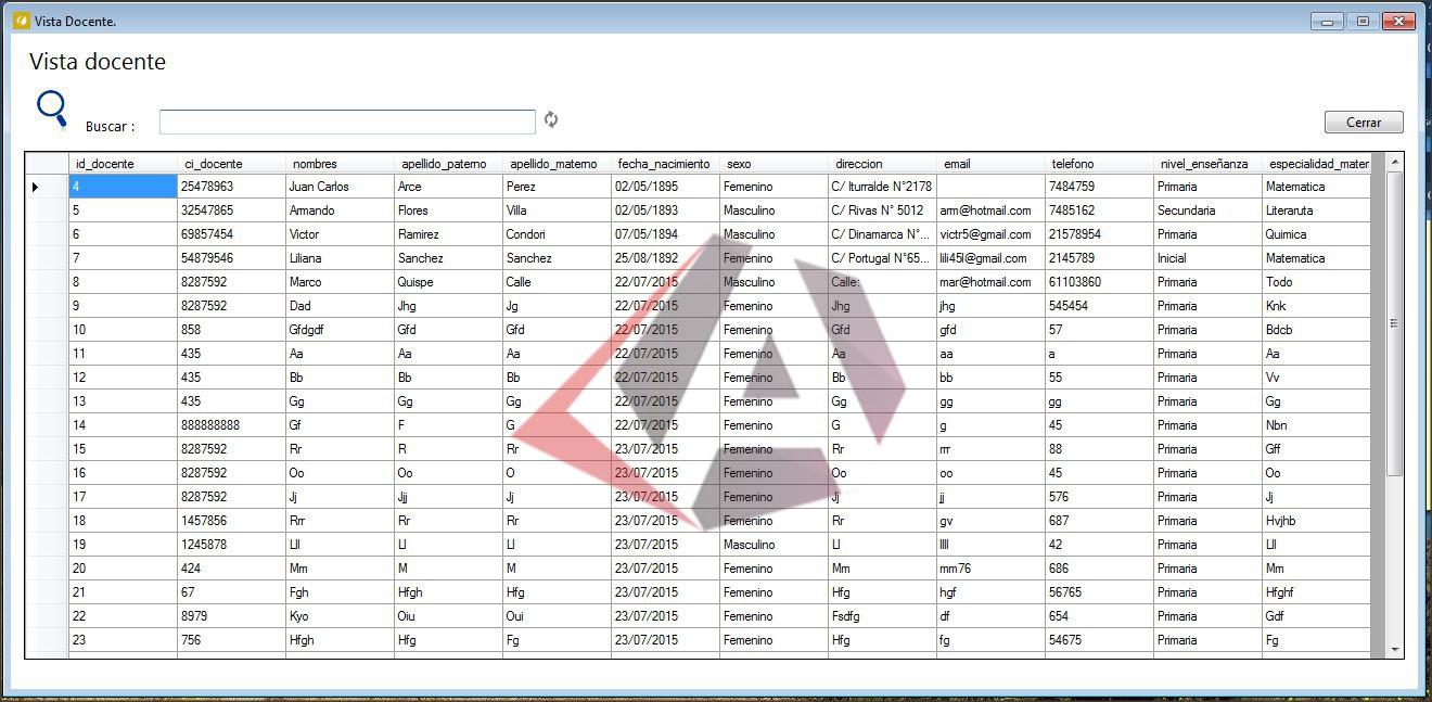 lista de docentes en dataview Visual Basic.NET y SQL Server