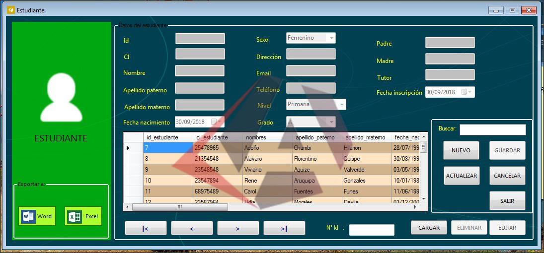 registro de estudiantes en Visual Basic.NET y SQL Server