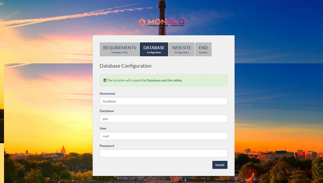configuración de la base de datos