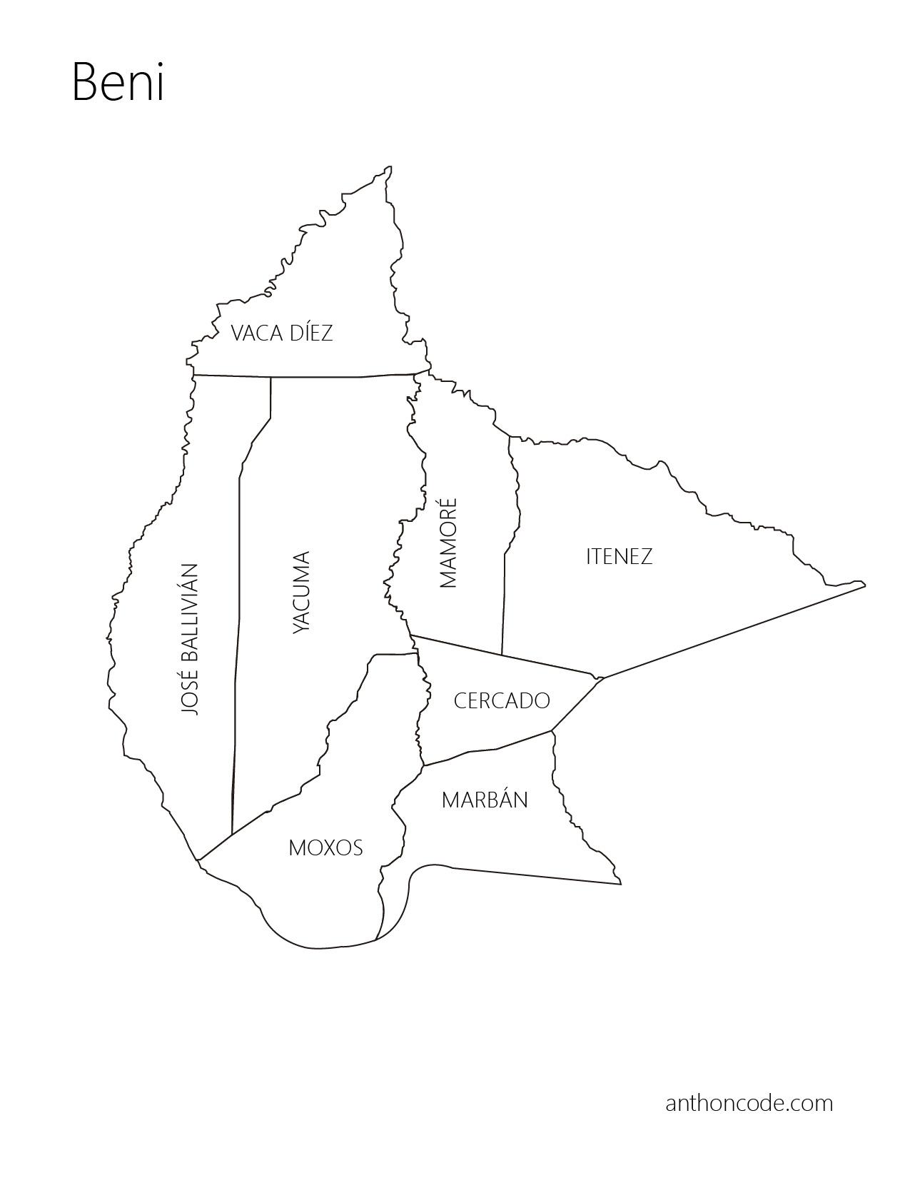 Mapa político de Beni y provincias para colorear
