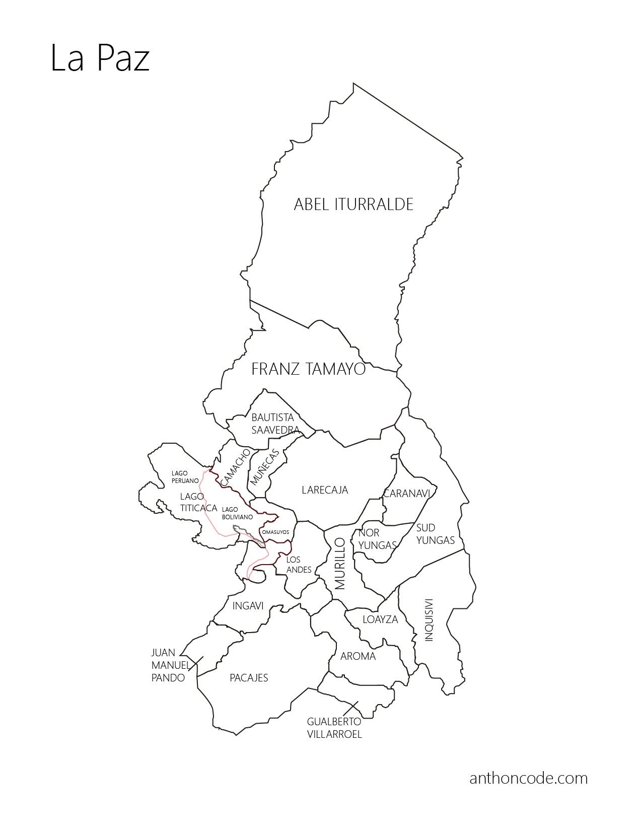 Mapa de La Paz y provincias para colorear