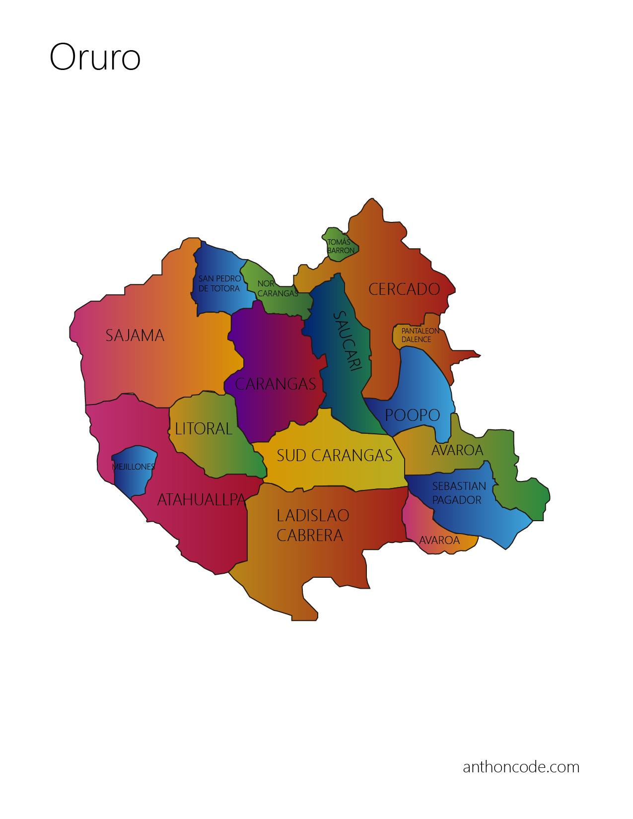 Mapa de Oruro y Provincias para pintar