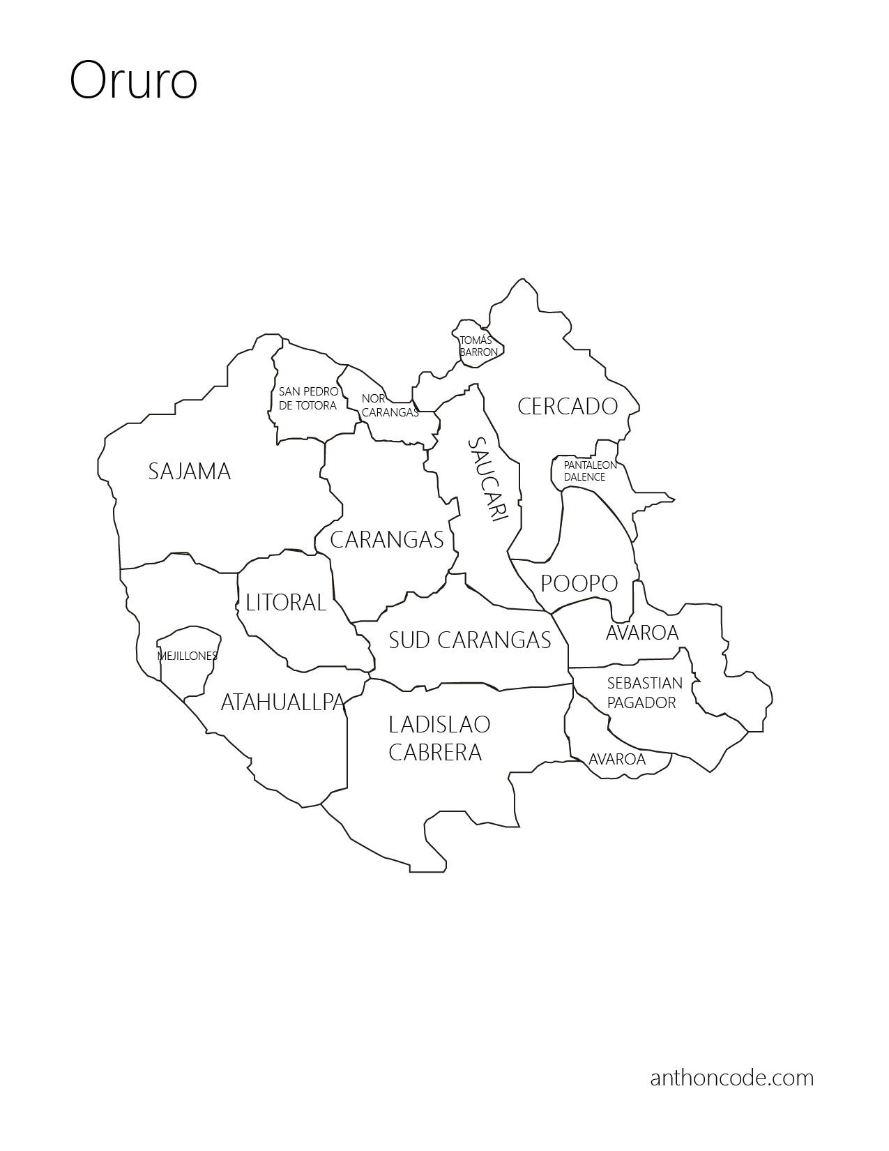Mapa de Oruro y provincias para colorear
