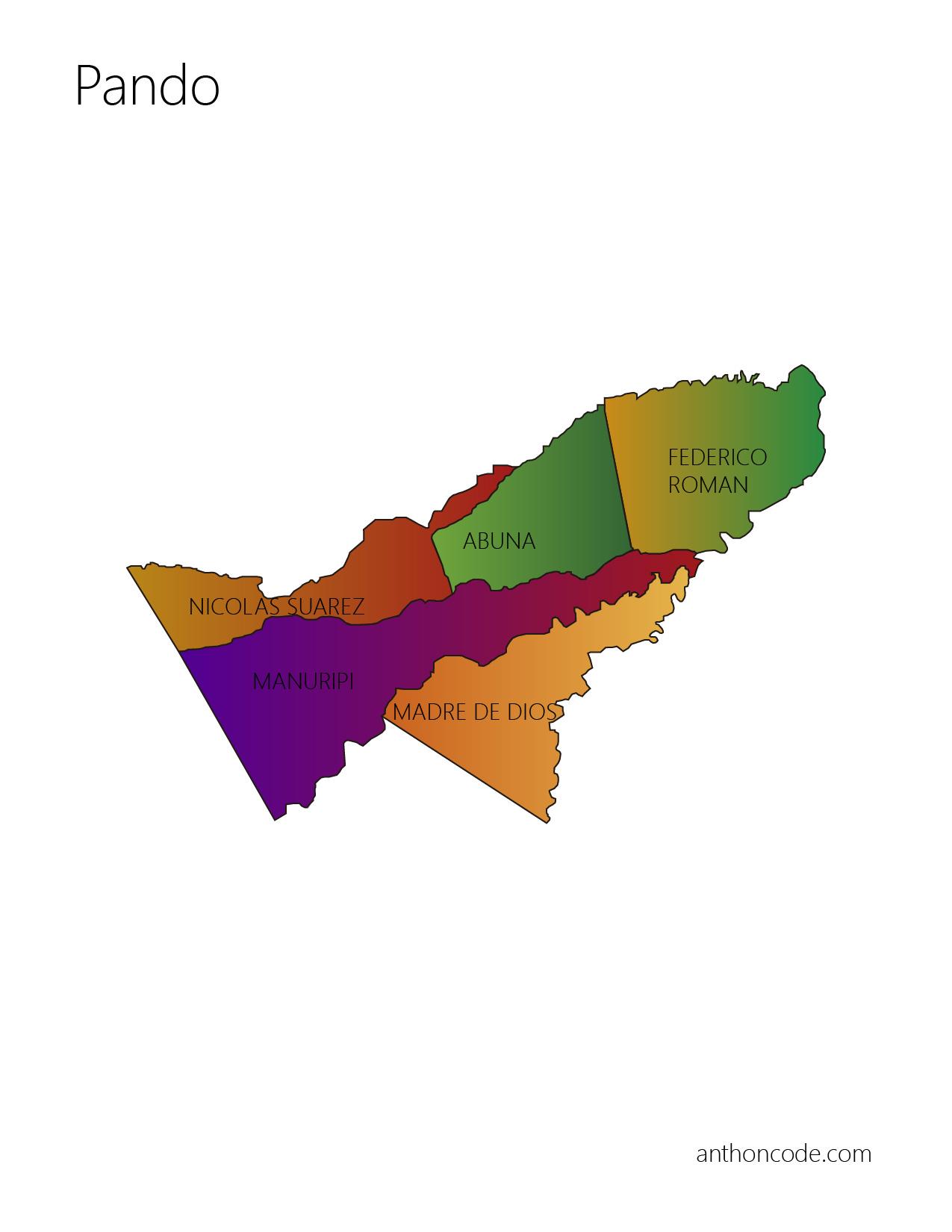 Mapa político de Pando y Provincias para pintar
