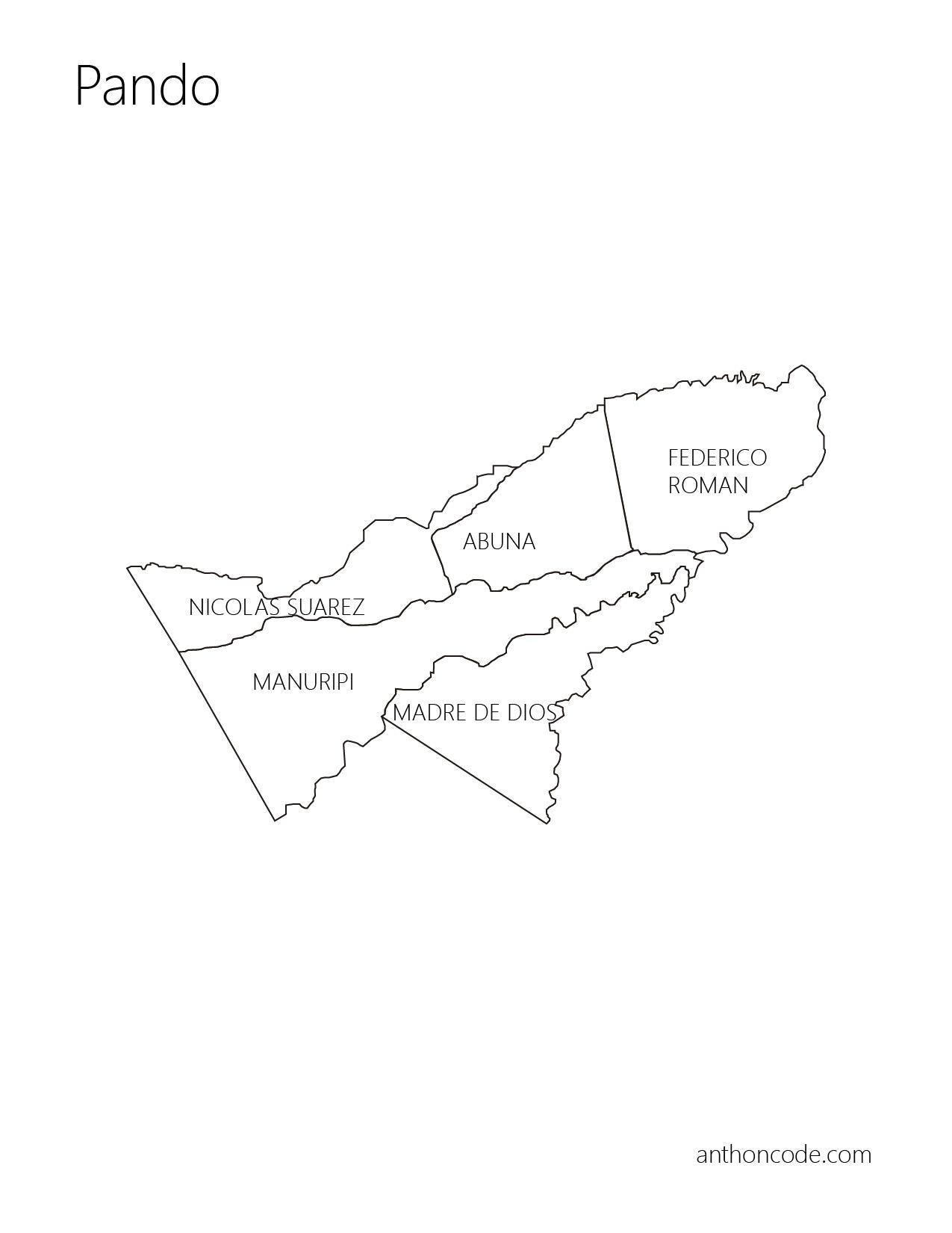 Mapa político de Pando y provincias para colorear