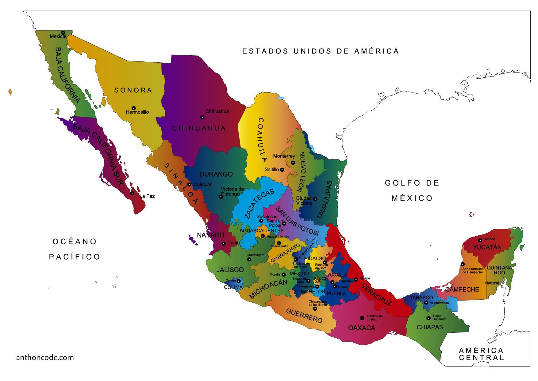 Mapa de México y Estados