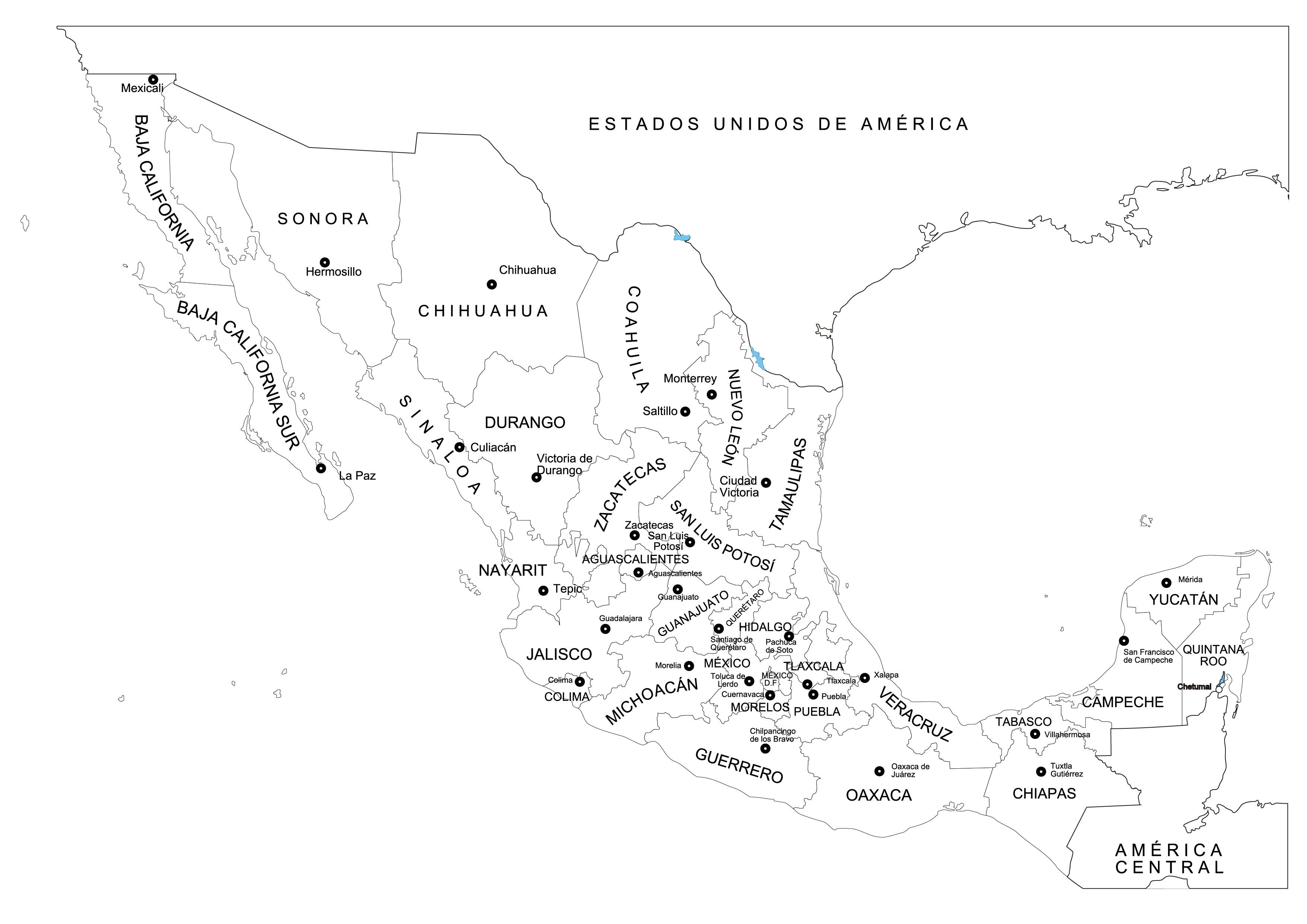 Mapa de México y sus estados