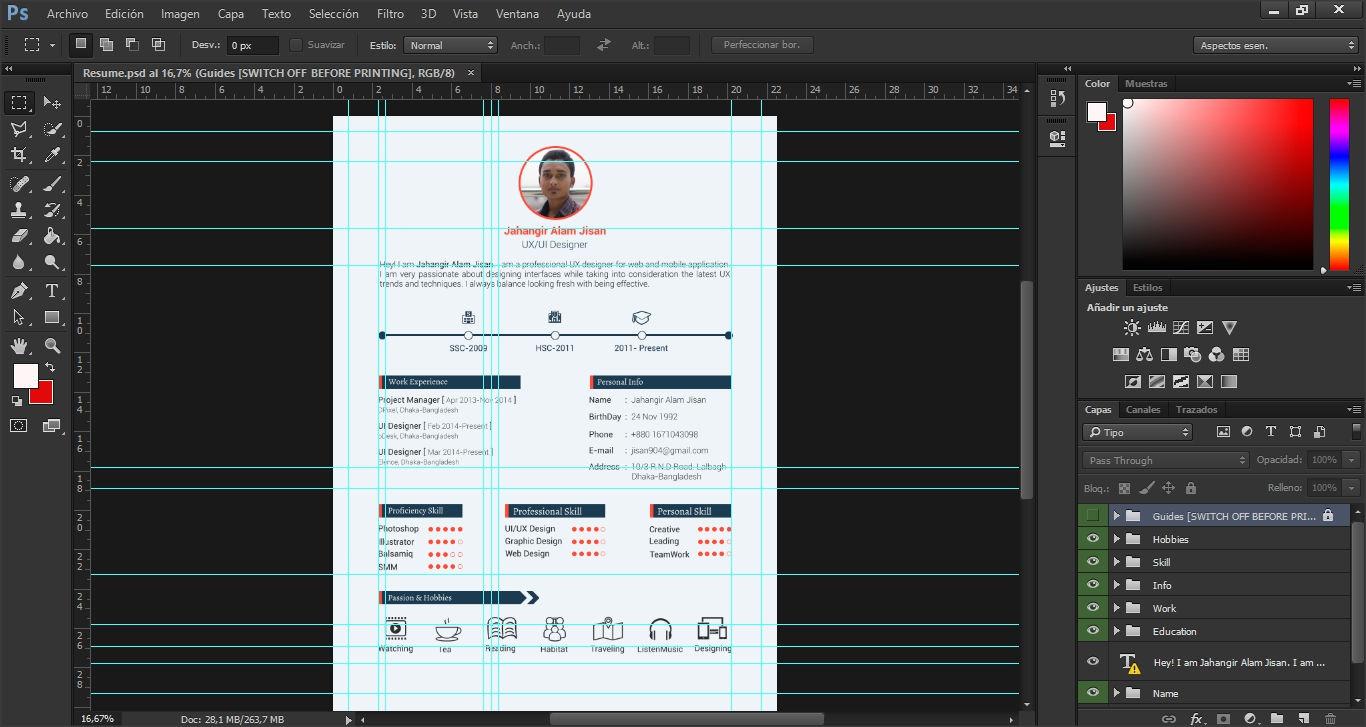 Plantilla de currículum o resumen en Photoshop (PSD)