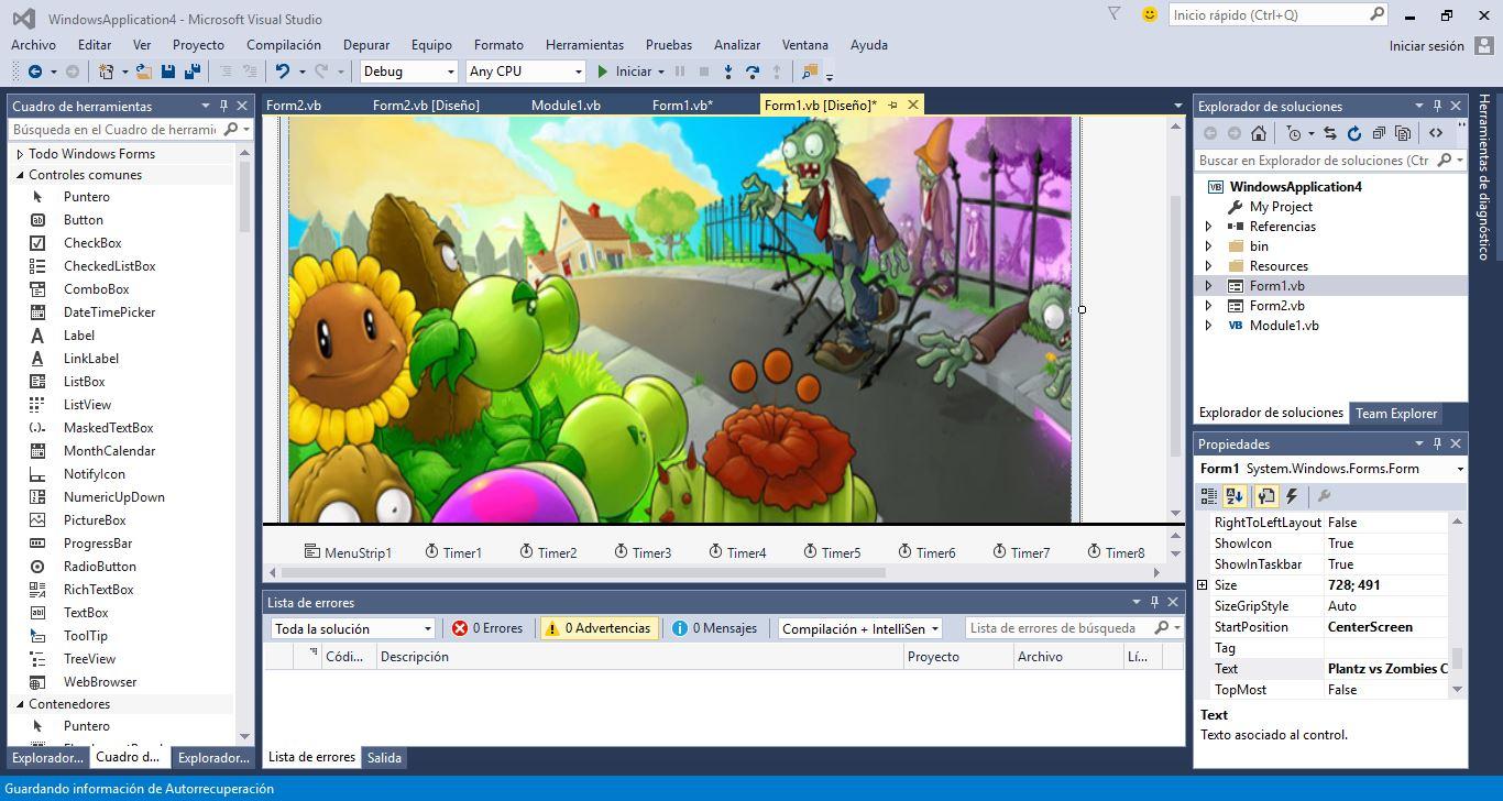 Código fuente del juego Planta vs Zombie en Visual Basic NET
