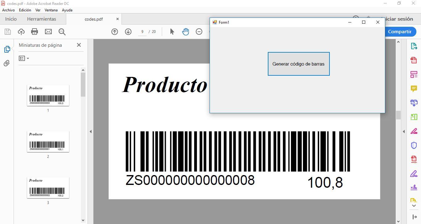 Código fuente Generar códigos de barras en C#