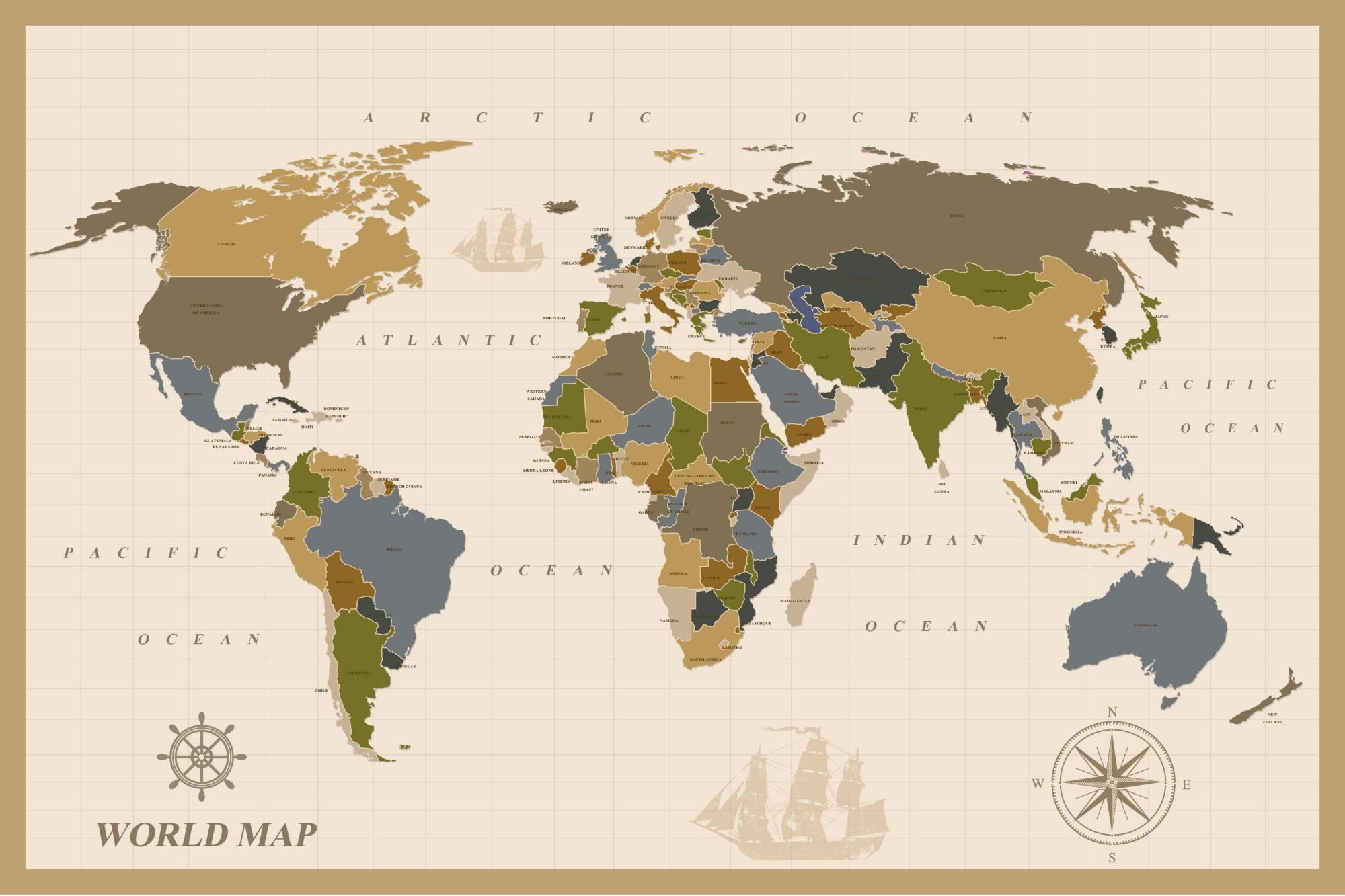 mapamundi estilo vintage antiguo