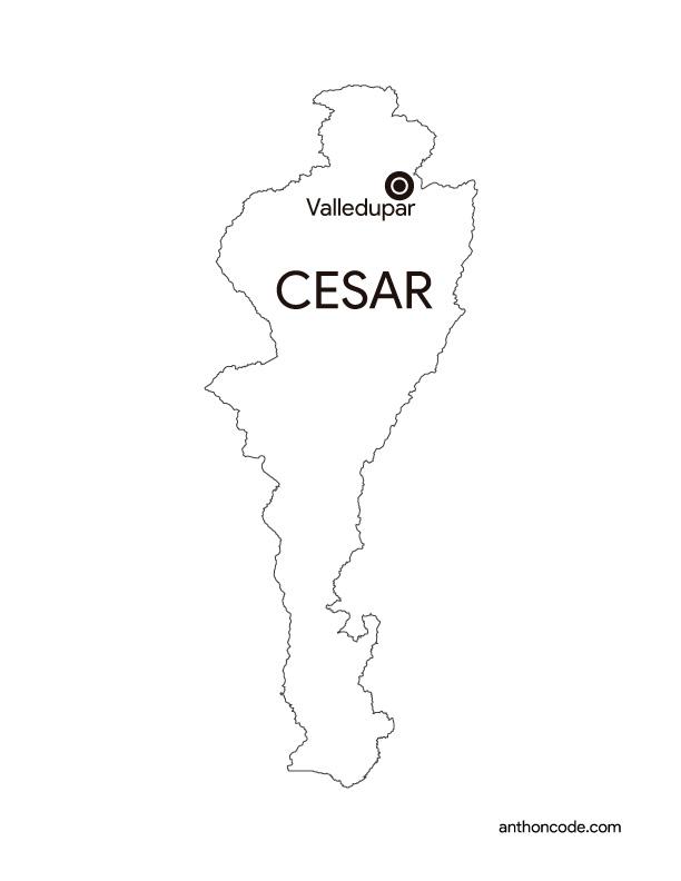 mapa de Cesar Colombia