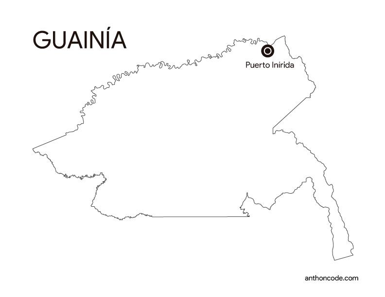 Departamento Guainía Colombia para colorear