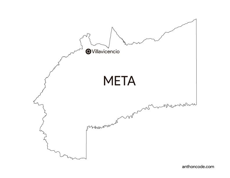 mapa de departamento Meta  Colombia para colorear