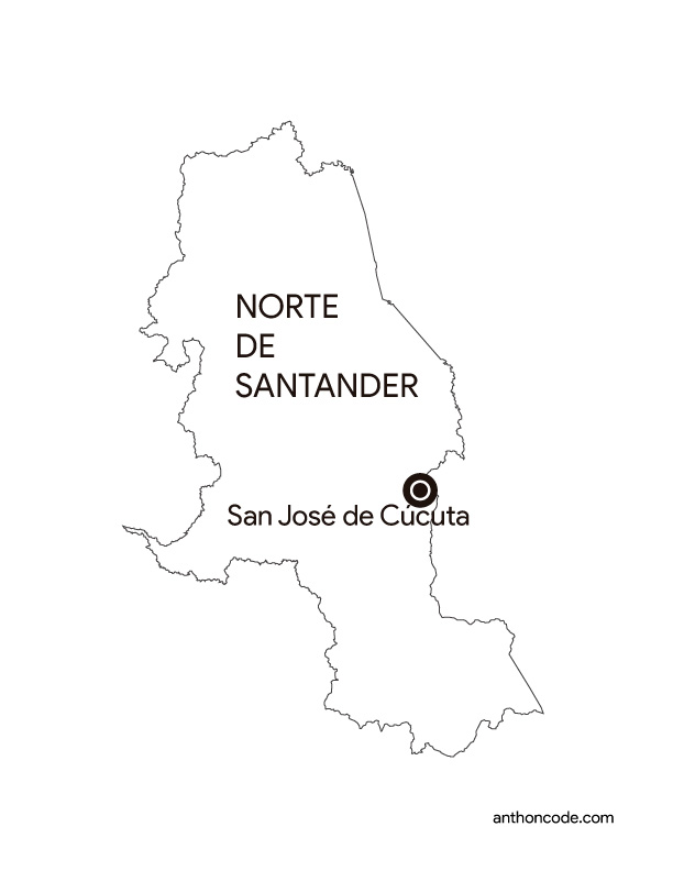 mapa de departamento Norte de Santander Colombia