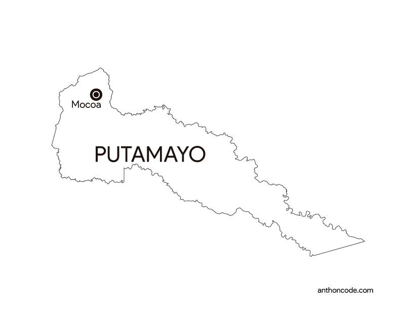 mapa de departamento Putamayo Colombia