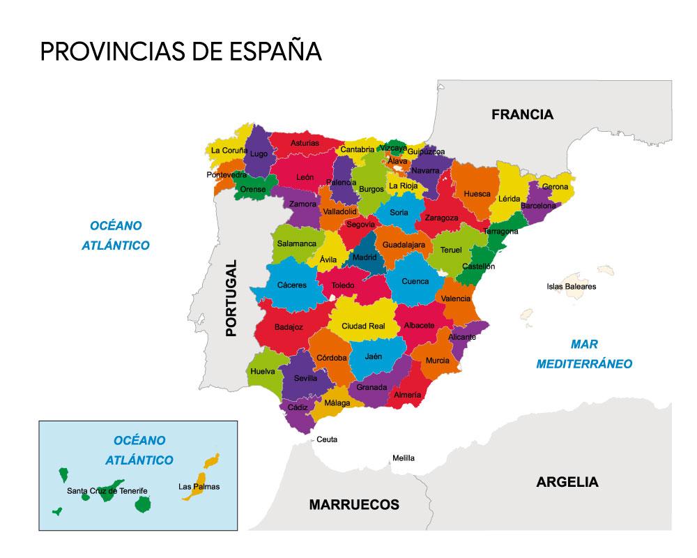 mapa de provincias de España con nombres para colorear