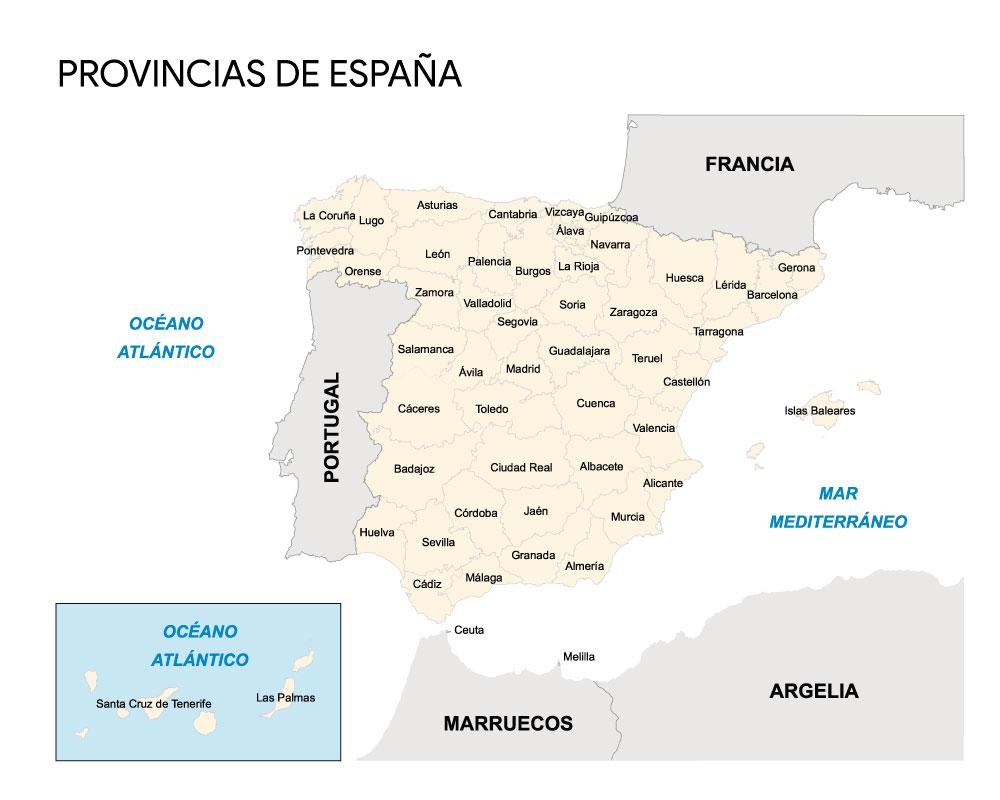 mapa de provincias de España con nombres