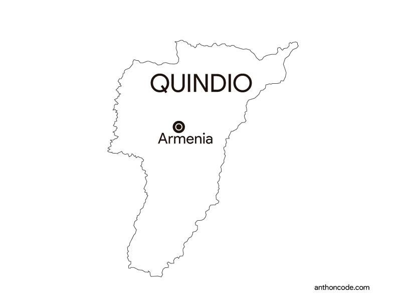mapa de departamento Quindio Colombia para colorear