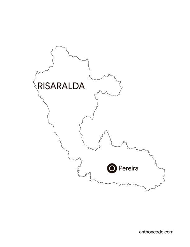 mapa de departamento Risaralda Colombia