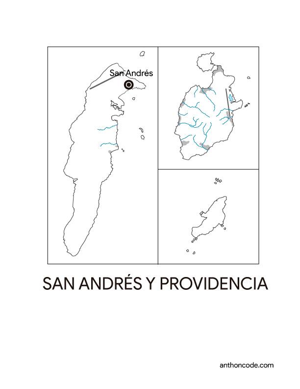 mapa de departamento San andres y providencia Colombia para colorear