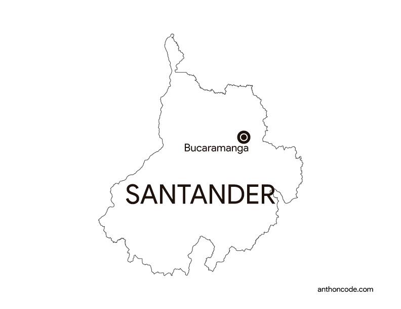 mapa de departamento santander Colombia para colorear