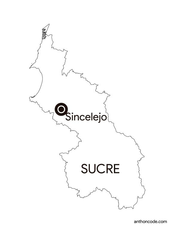 mapa de departamento Sucre Colombia para colorear
