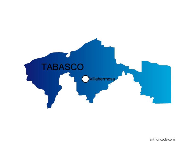 Mapa de Tabasco de México