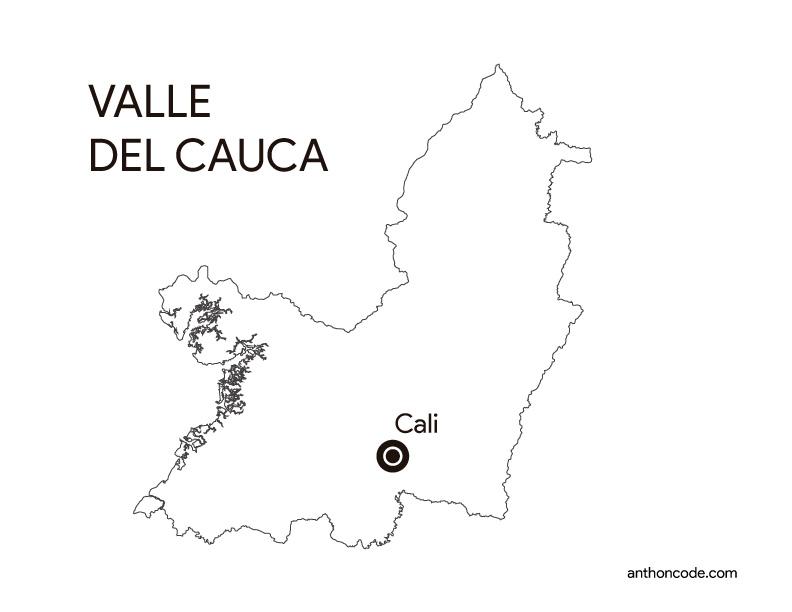 mapa de departamento Valle del cauca Colombia para colorear