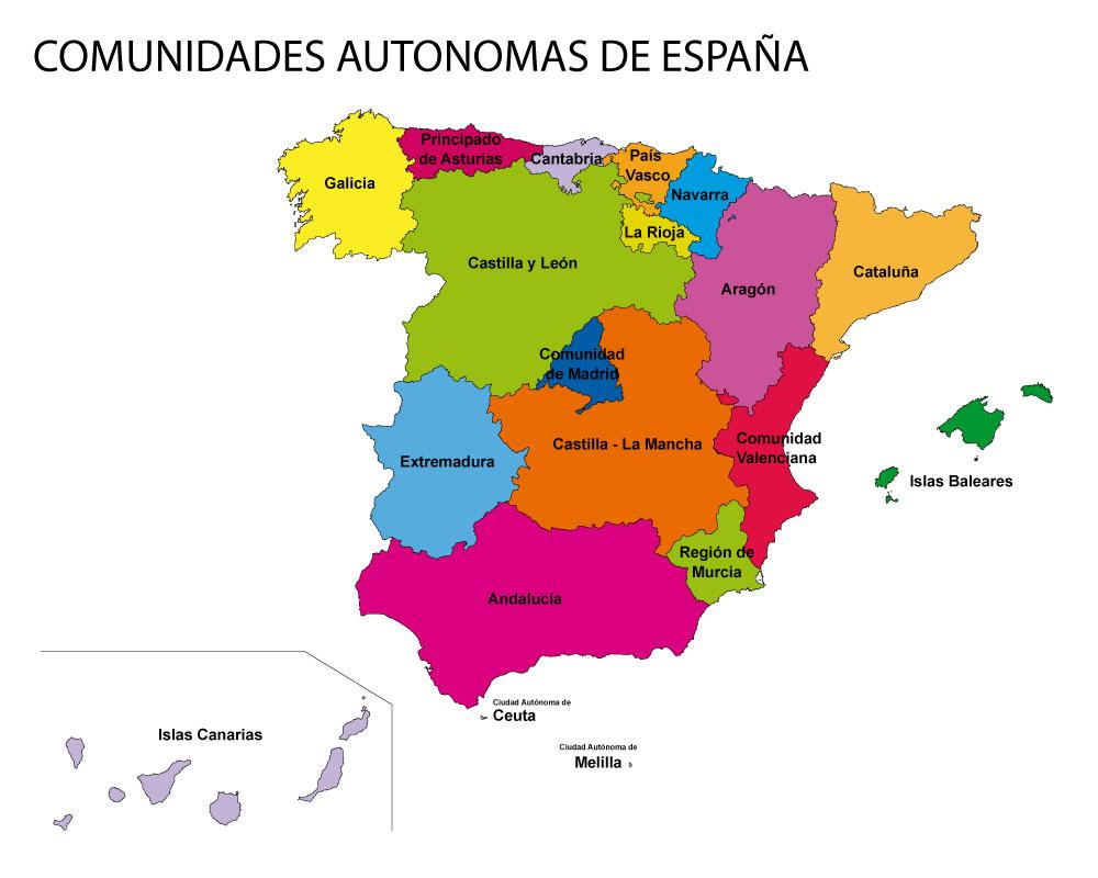Mapa De España Colorear.Mapa De Comunidades Y Provincias De Espana Para Colorear Pdf