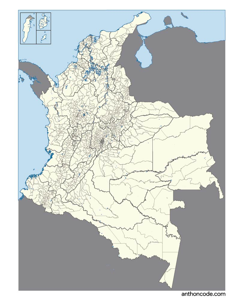 complete map of Colombia with capitals and departments