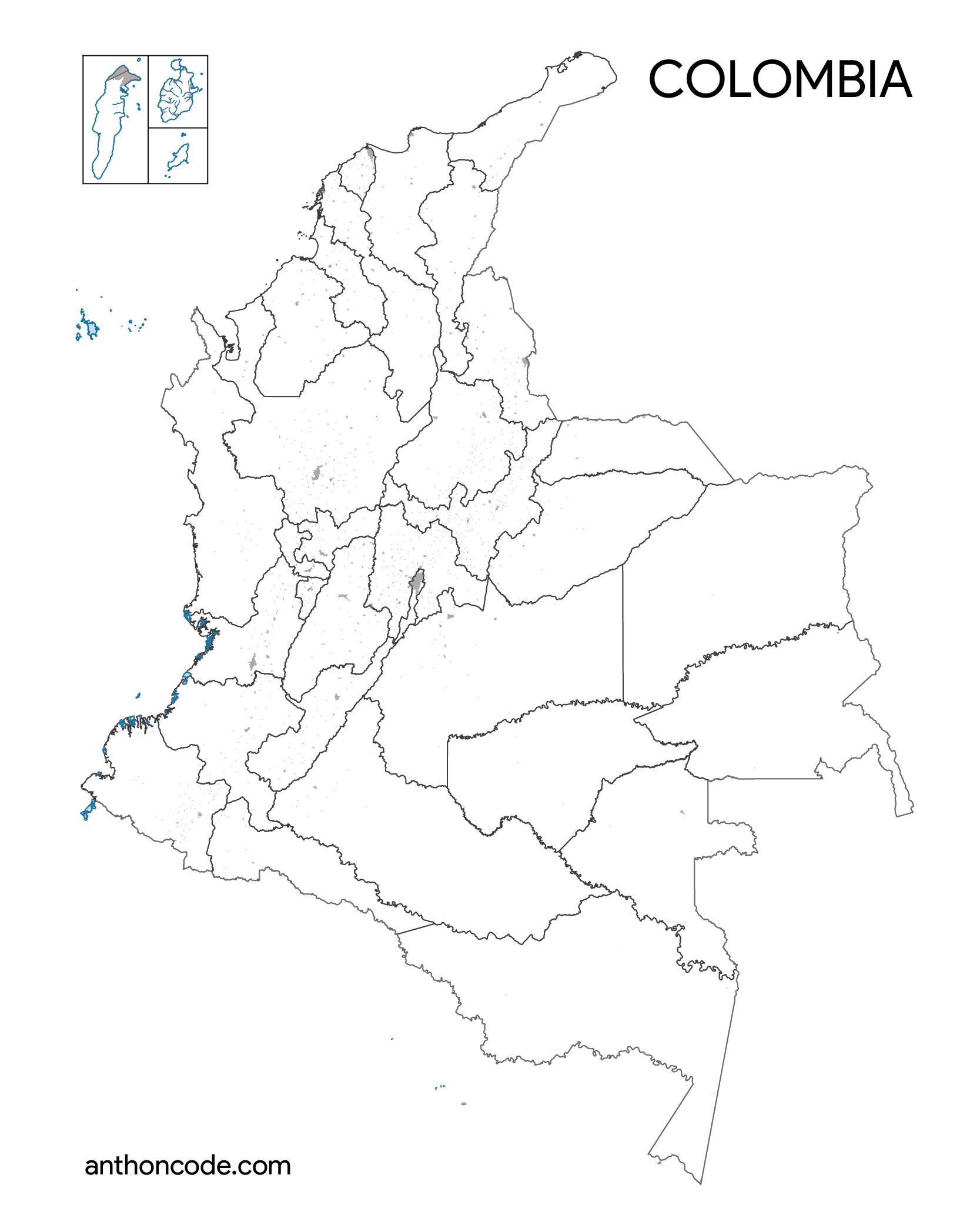 mapa político mudo de Colombia