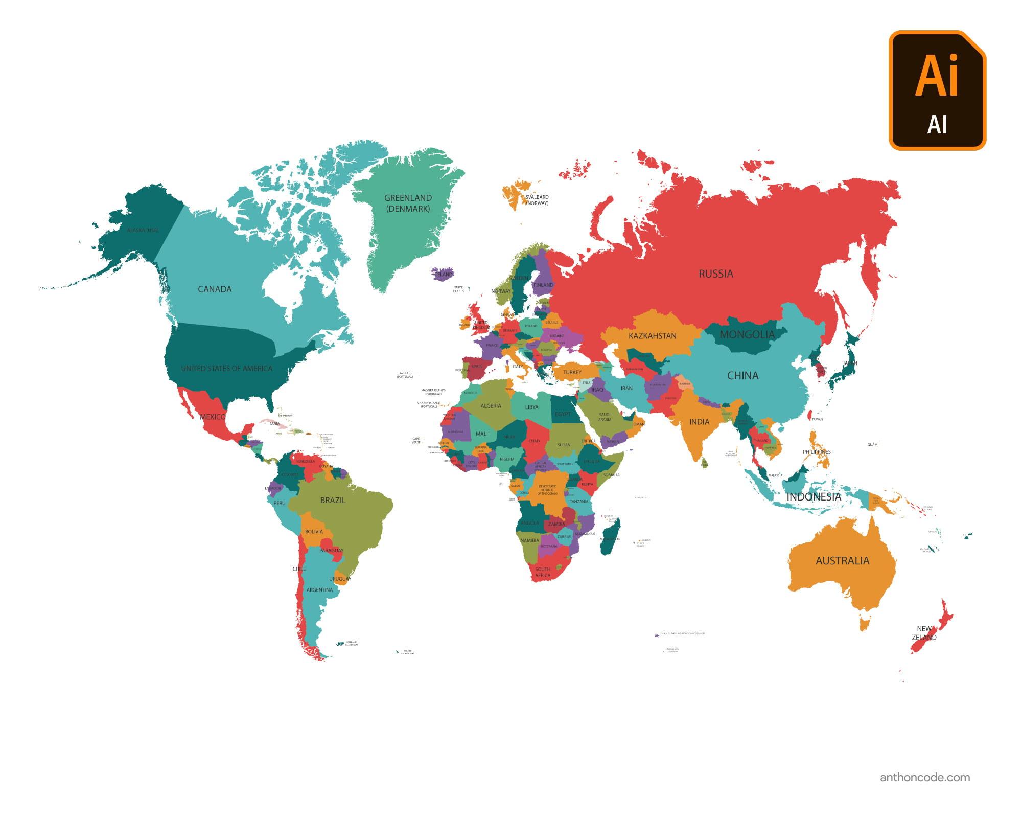 Mapamundi - Mapa de los continentes para colorear en PDF