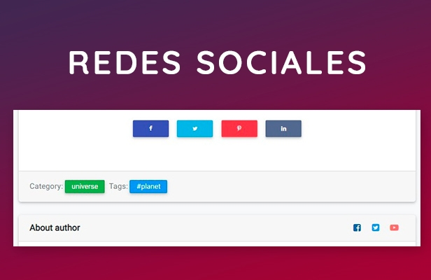 Redes sociales para compartir integrado en tema de wordpress