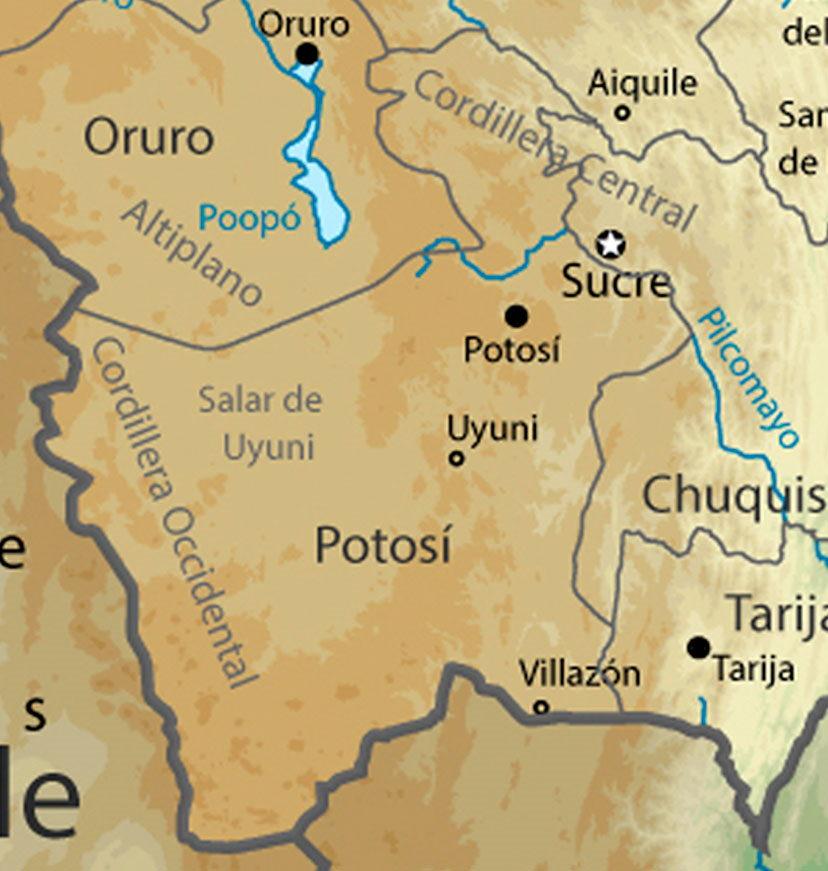 Geografía De Bolivia Mapa Físico De Bolivia En Pdf