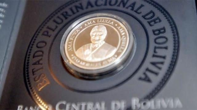 Moneda con el rostro de Evo Morales