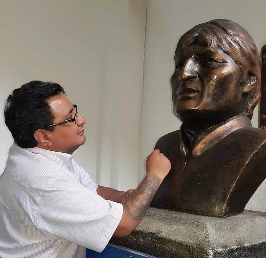 bronze bust or head of Evo Morales