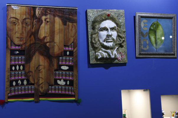 multimedia art in honor of coca leaves and revolutionary leaders in the Evo Museum