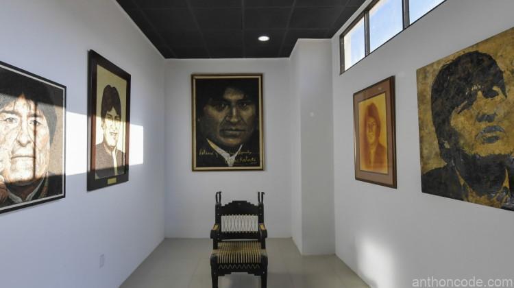 cuadros de pintura del dictador de Bolivia Evo