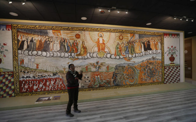 representación del mural de la iglesia juicio final de curahuara de carangas