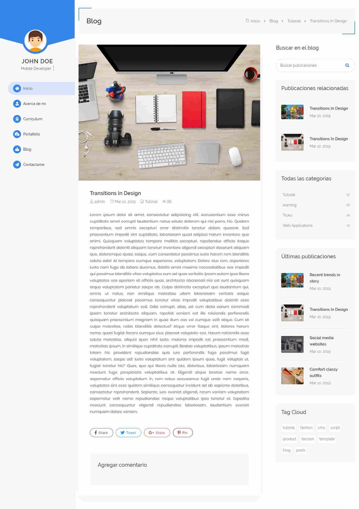 blog en portafolio web plantilla