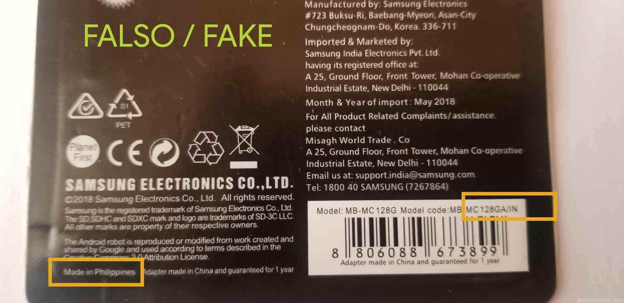 Memoria micro SD Samsung Falso