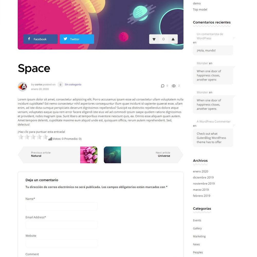 Plantilla Minimalista GutenBlog para WordPress