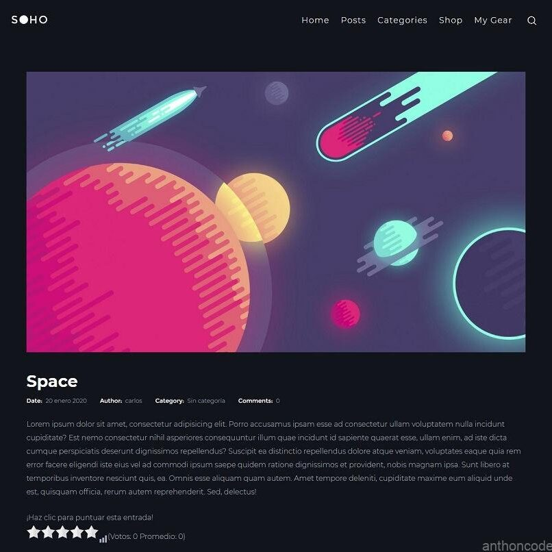 Plantilla Blog Soho Pro para WordPress