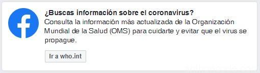 Coronavirus en facebook