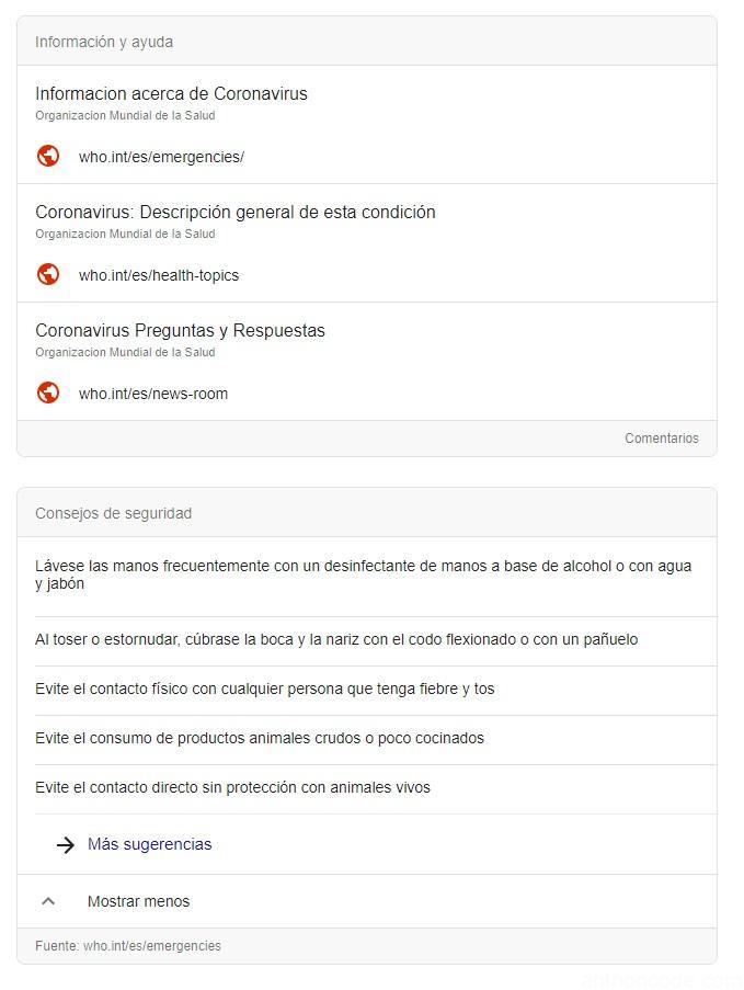 Coronavirus en google y facebook